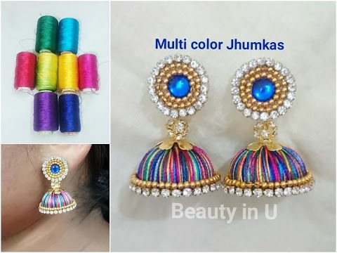 How to make Multi color Silk Thread Jhumkas | Making of multi color Silk Thread | Tutorial