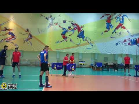 Тренировка мужской сборной России по волейболу. Новогорск