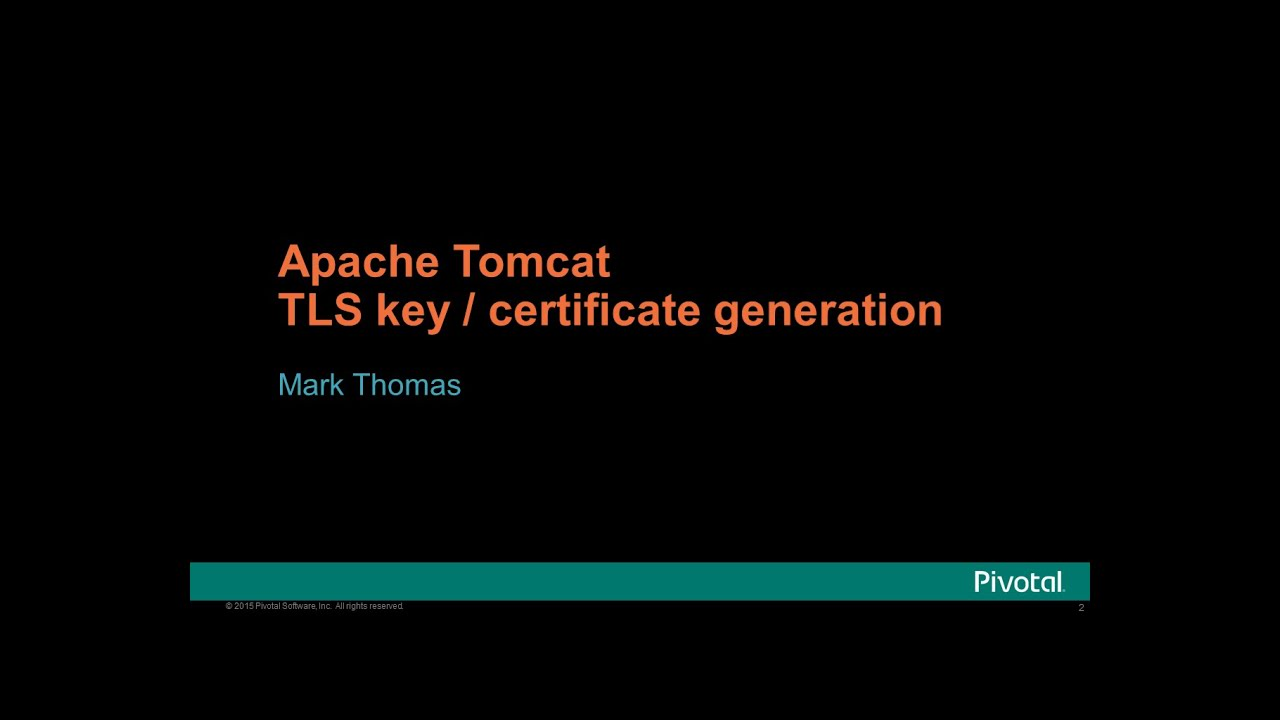 Apache Tomcat Tls Key And Certificate Generation Youtube