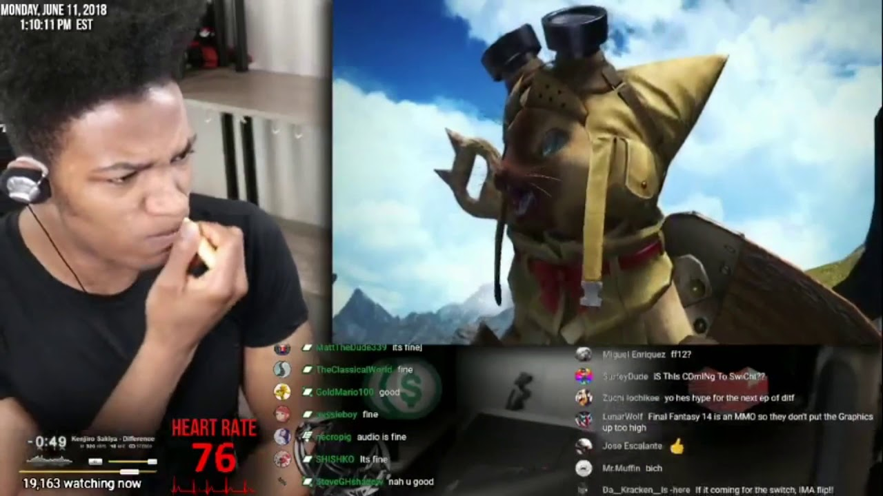 Etika Reacts to monster hunter worlds final fantasy crossover and under the moonlight final fantasy
