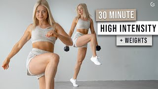 30 MIN SUPER SWEATY HIIT Workout With Dumbbells - Full Body, Follow Along, No Repeat Workout