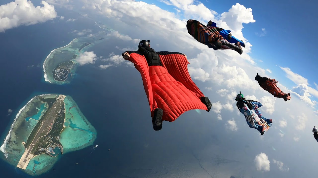 Wingsuit Flying over the Maldives Islands