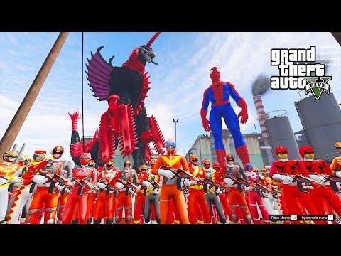 Xem phim năm anh em siêu nhân - GTA 5 Mod - 500 Anh Em Siêu Nhân Đỏ Đội Đội Trưởng Đi Truy Tìm Quái Vật Gigan