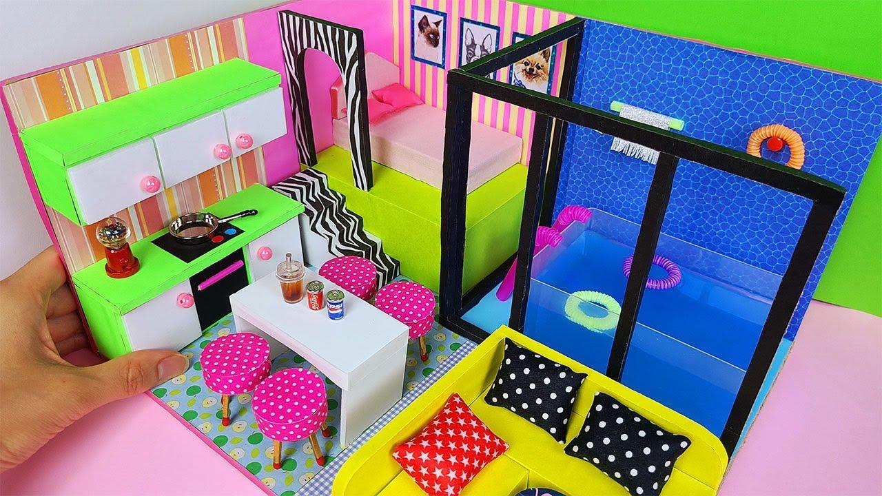 DIY Miniature Cardboard House Pool Villa, swimming pool, bedroom, livingroom, kitchen