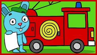 """Рисуем ПОЖАРНУЮ МАШИНУ. уроки рисования. развивающие мультфильмы """"рисовашка"""""""