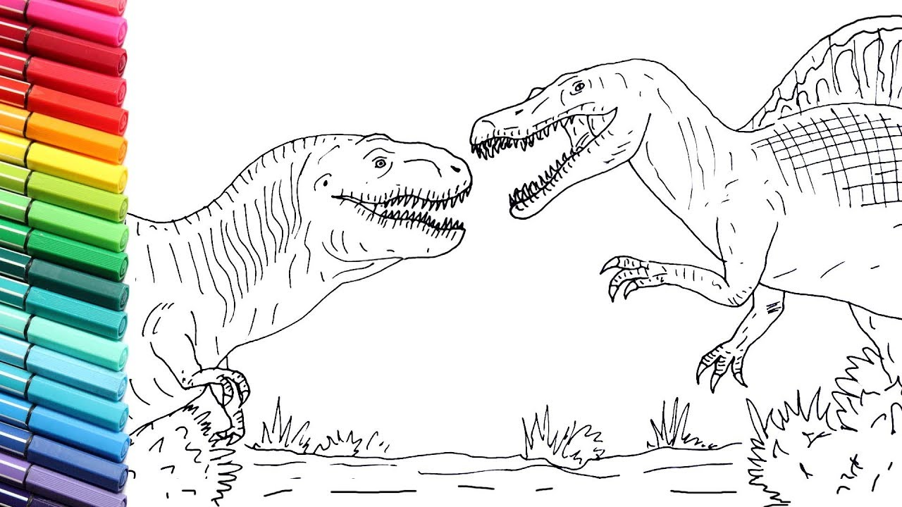 how to draw trex vs spinosaur from jurassic park 3