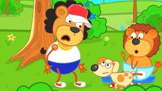 Lion Family Brave Puppy Defeated a Bully Cartoon for Kids