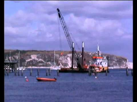 Crane Barge Docking at Swanage Pier