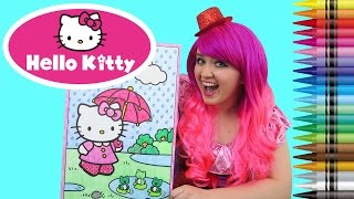 Coloring Hello Kitty Sanrio GIANT Coloring Book Page Crayola Crayons | COLORING WITH KiMMi THE CLOWN