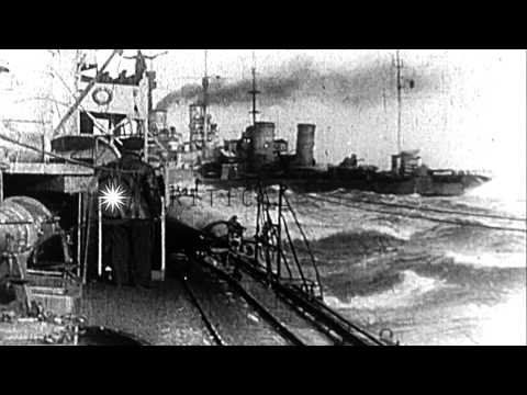 French ships join British Squadron for the Dardanelles Campaign during World War ...HD Stock Footage