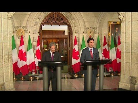 Ottawa, conferenza stampa Gentiloni - Trudeau