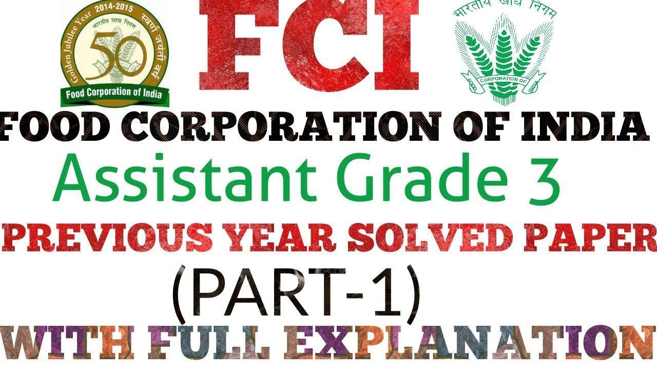 Ssc Fci Previous Year Question Papers Pdf