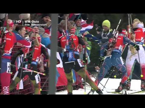 Damen Massenstart 12,5 km Biathlon WM Oslo 2016