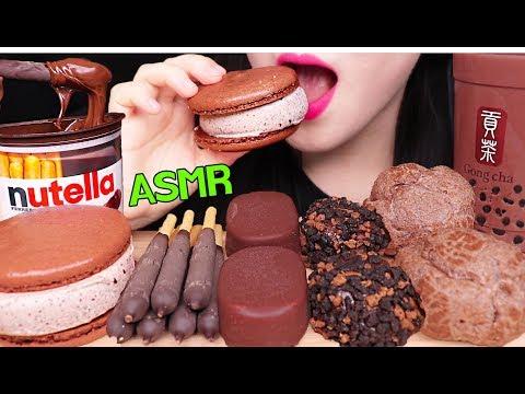 ASMR NUTELLA CHOCOLATE ICE CREAM, BUBBLE TEA, CHOU, MACARON 누텔라 초콜릿 아이스크림, 버블티, 마카롱 먹방 EATING SOUNDS