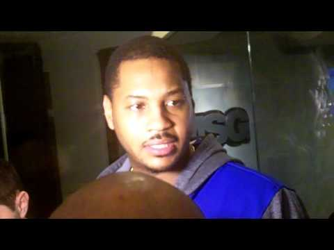 Carmelo Anthony reacts to Derek Fisher's firing