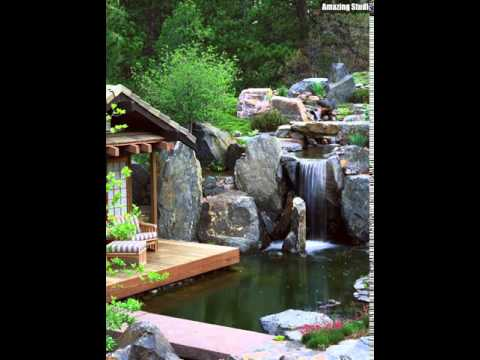 Garten Teich und Deck mit Wasserfall Ideen