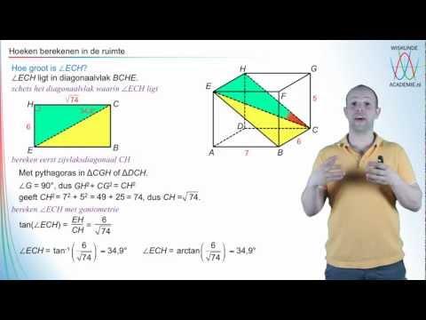 Goniometrie - hoeken berekenen in de ruimte - WiskundeAcademie