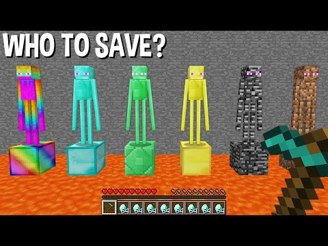 WHO to SAVE DIAMOND ENDERMAN or RAINBOW or EMERALD or GOLD or BEDROCK or DIRT in Minecraft ???
