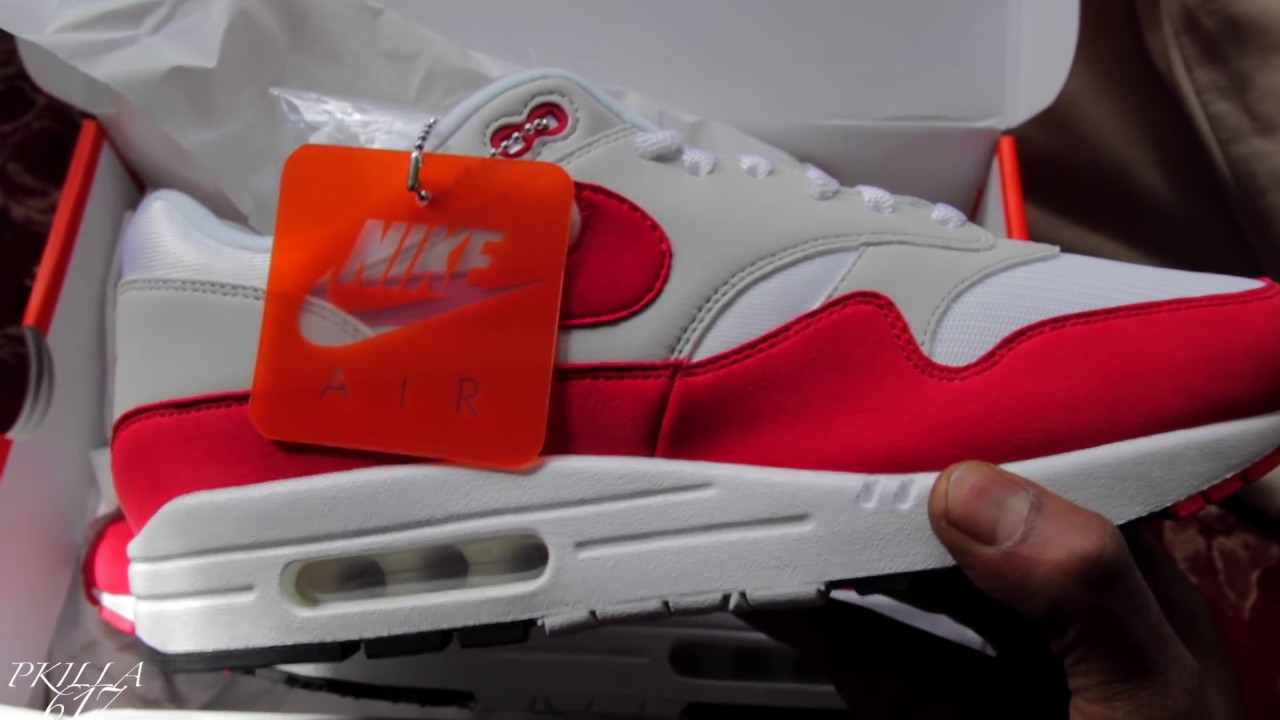 Nike Air Max 1 OG 2017 University Red Unboxing and Review..