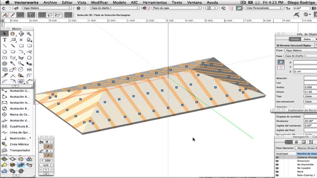 Rv 045 estructura para una cubierta en vectorworks for Como hacer tejados de madera