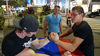 ARM WRESTLING AT TIMES SQUARE NYC