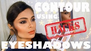 How To Contour & Highlight Using ONLY Eyeshadows!! Eyeshadow BEAUTY HACKS