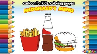 Mcdonalds Set. How to Draw Mcdonald Food French Fries, Coca Cola, Burger. Education Videos for Kids
