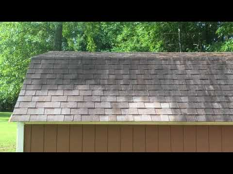 Cleaning roofing shingles with purple power