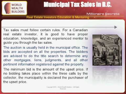Municipality Tax sales In British Columbia (BC)