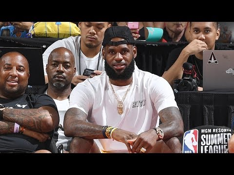 LeBron James Watches The Lakers Take On The Pistons During The 2018 Summer League