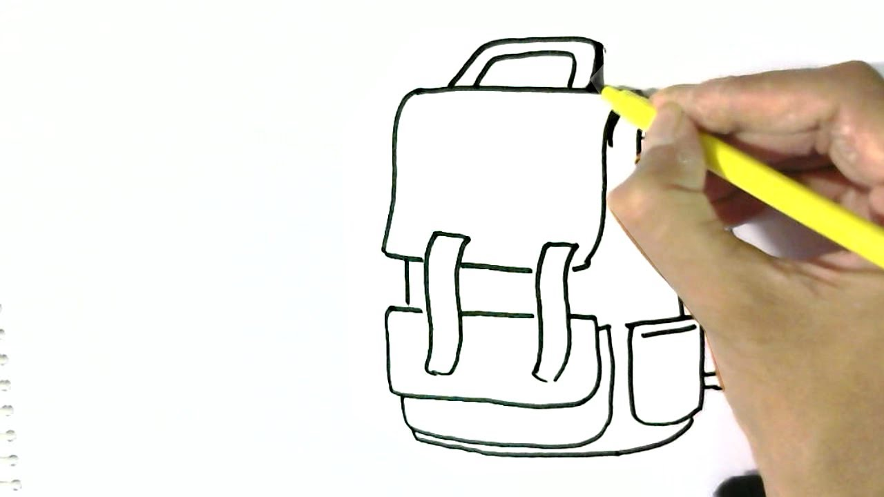 How to draw School bag, in easy steps for children. beginners
