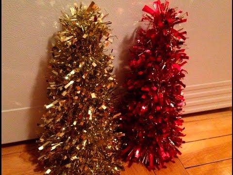 Diy Tinsel Garland Christmas Trees Theeasydiy Crafty