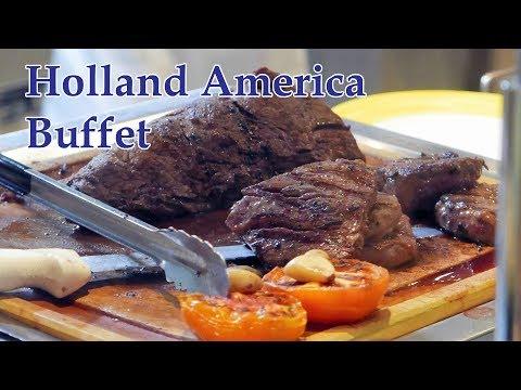 Holland America Buffet Food @ Lido Market (Breakfast, Lunch & Dinner) on ms Veendam (4K)