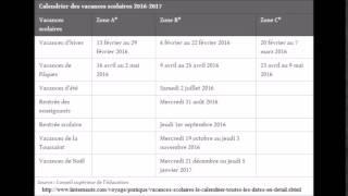 vacances scolaires 2015 - 2016