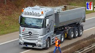 SCANIA, MAN, MERCEDES-BENZ Construction Trucks / Bau Lkws, Sanierung B 14, Fellbach, 2018.