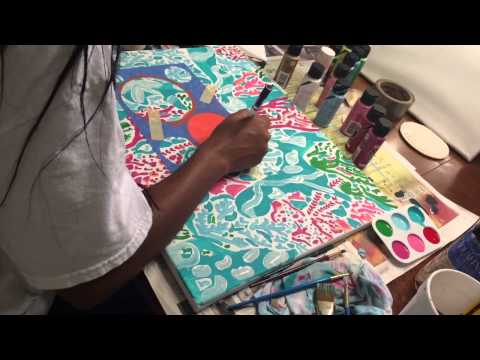 "Painting Lilly Pulitzer's ""Let's Cha Cha"" w/ Monogram"