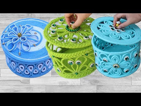 5 Beautiful jewelry box with woolen & newspaper | Diy jewelry box #2