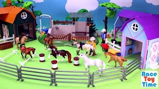 Horse Stable Barn Riding Academy Breyer Toy Playset For Kids - Fun Animals Toys Video
