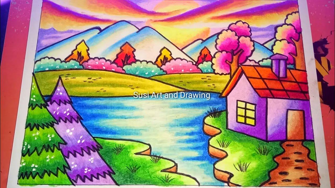 Cara Menggambar Pemandangan Alam Yang Mudah Dengan Crayon Drawing Nature Scenery Youtube