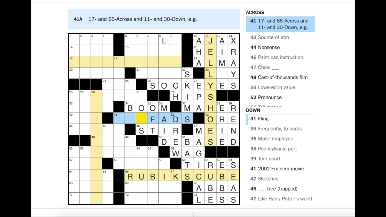 The entire NYT crossword but every time they solve a clue ...
