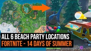 All 6 Beach Party Locations - Fortnite 14 days of Summer challenge