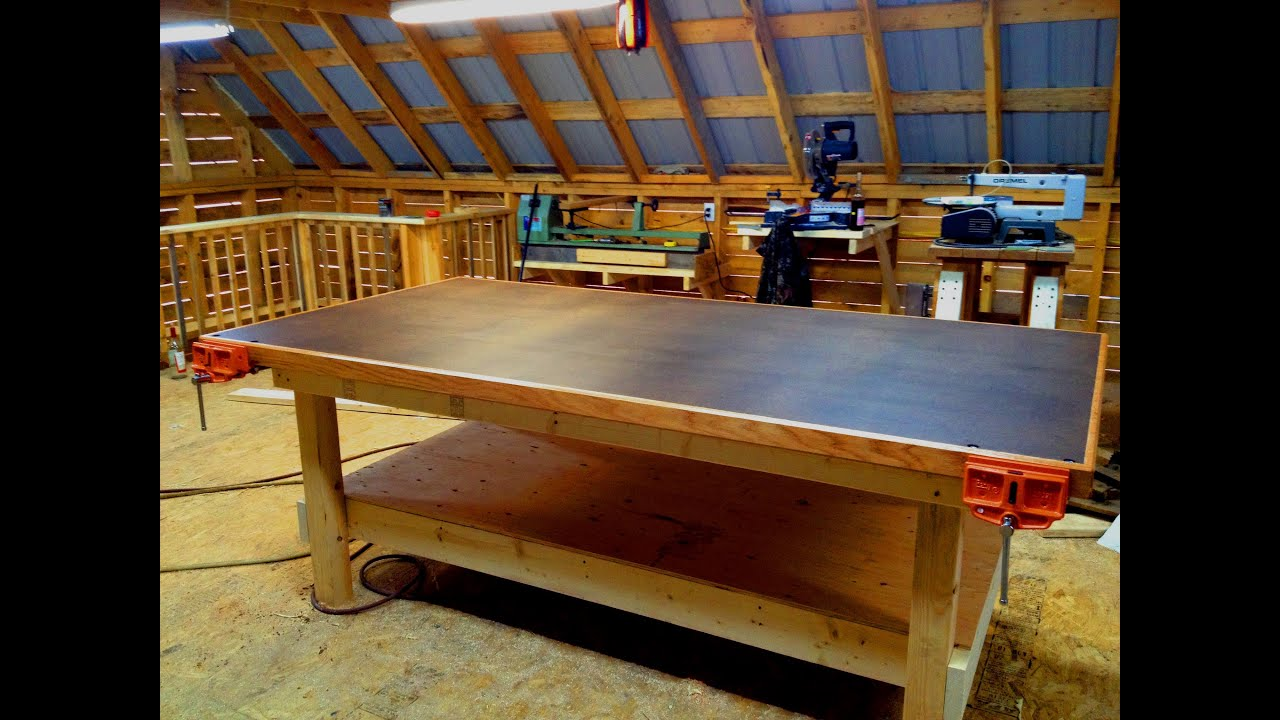 Heavy duty shop table diy woodshop youtube for Working table design ideas