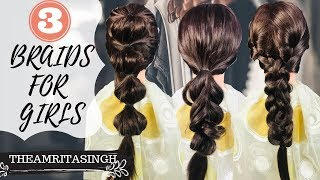 HOW TO : 3 BRAIDED HAIRSTYLES | **Very Easy**
