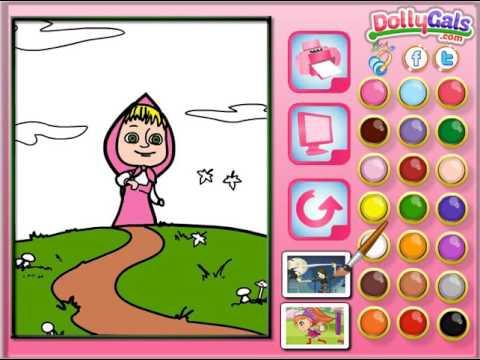 Мультик игра Маша и Медведь: Онлайн раскраска (Masha Online Coloring)