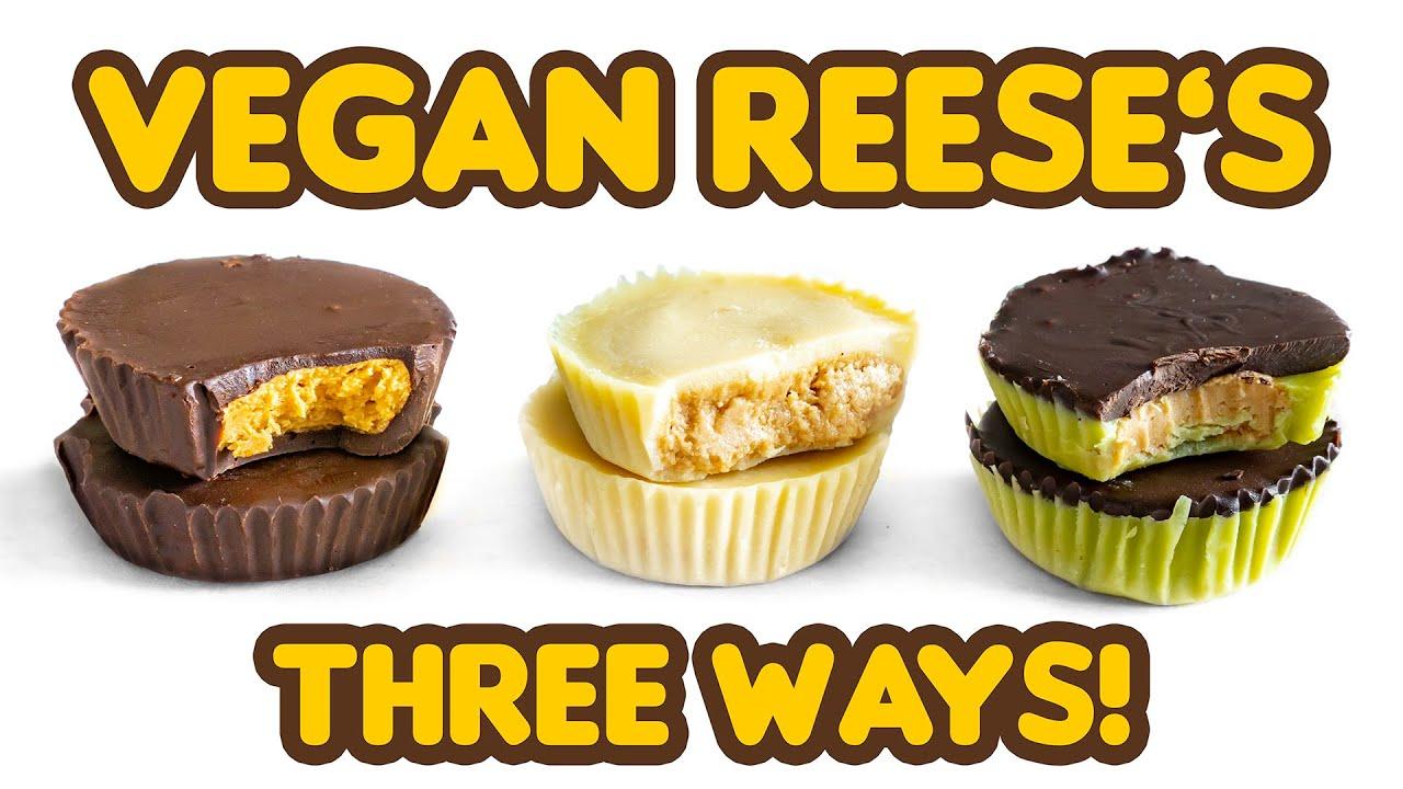 VEGAN REESE'S Peanut Butter Cups! Classic, White Chocolate & Frankenstein! Vegan Halloween Candy!