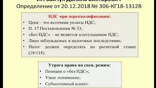 НДС при переквалификации деятельности Дело ИП Зайчук / VAT calculation
