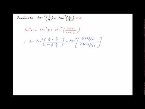 Find the value of arctan(1/4) + arctan(2/9).