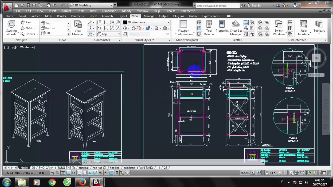 Bản vẽ thiết kế nội thất gỗ – Side Table(Bàn 2 tầng 1 học MTT00010)