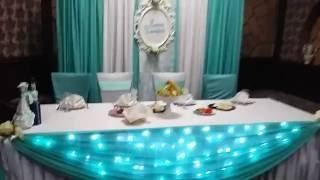 Оформление свадьбы с подсветкой стола ресторан
