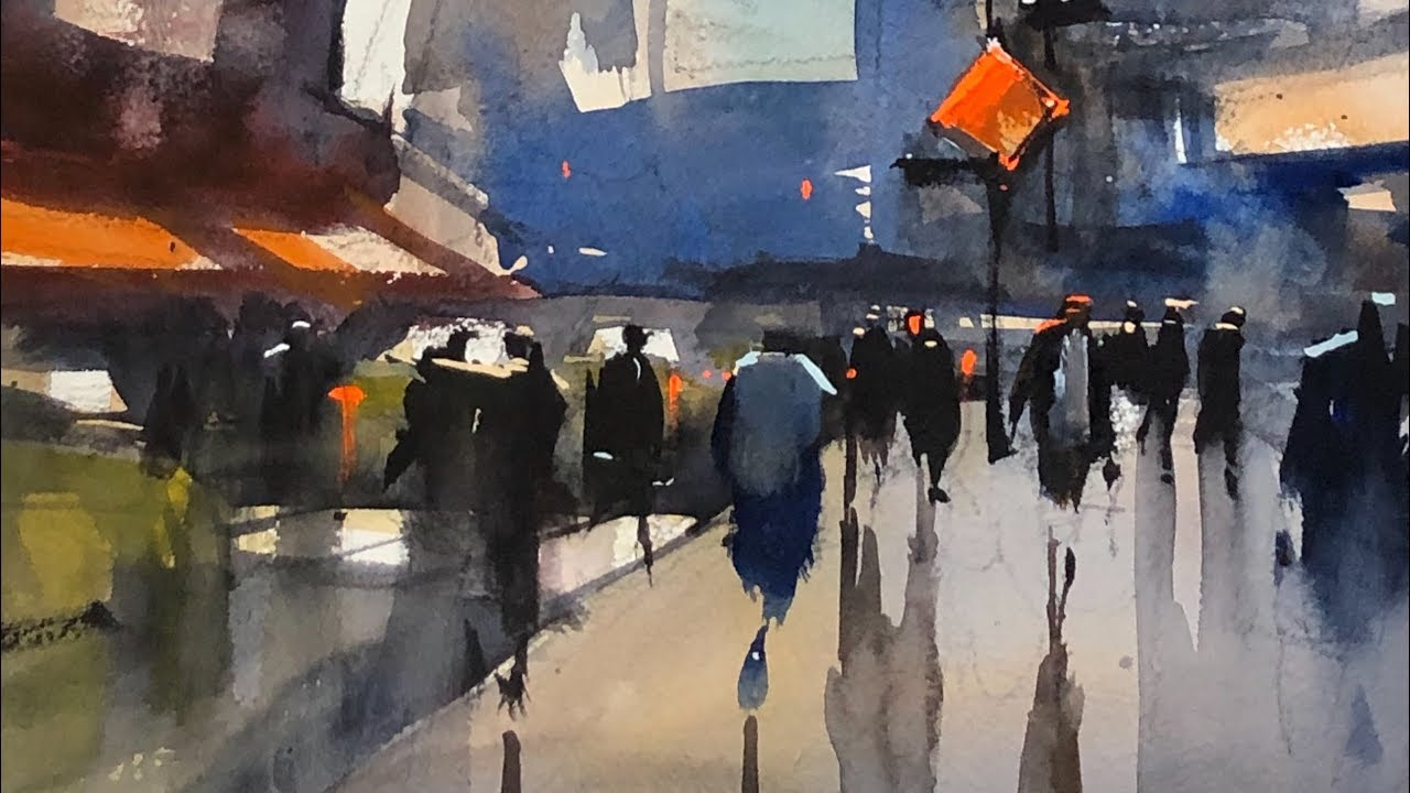 """Advancing with Watercolor: Simplify with Patterns """"Hustle & Bustle, Times  Square"""""""